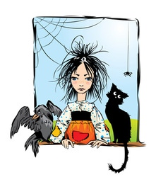 Baby witch with black cat raven and spider vector image vector image