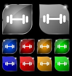 Barbell icon sign set of ten colorful buttons with vector