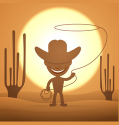 cowboy kid twirling a lasso vector image vector image