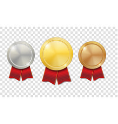 gold silver and bronze shiny medals with red vector image vector image
