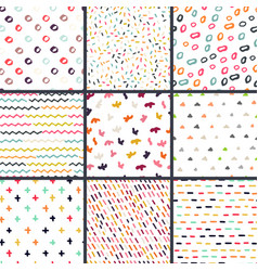 hand drawn seamless pattern collection simple vector image vector image