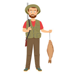 happy hunter with shotgun and fish in hand vector image