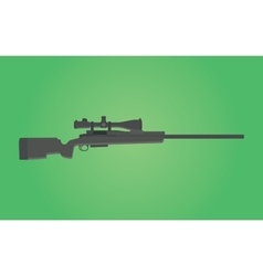 sniper rifle gun isolated with green background vector image vector image