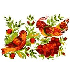 Bird viburnum and flower vector