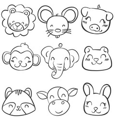 Collection stock of animal head hand draw vector
