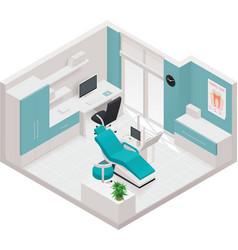 Isometric dental clinic icon vector