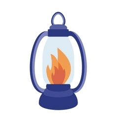 Oil table fire lamp lighting up flat vector