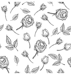 Vintage pattern of monochrome rose vector image