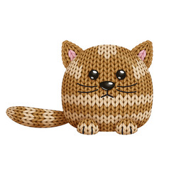 A funny knitted cat toy on white background vector