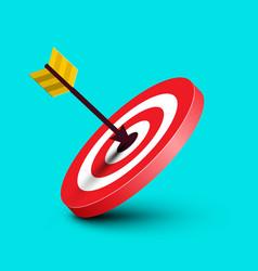 arrow in target dart in red bullseye on blue vector image