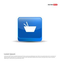 Asian food icon - 3d blue button vector