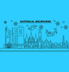 australia melbourne city winter holidays skyline vector image