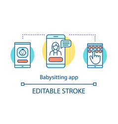 Babysitting app concept icon vector