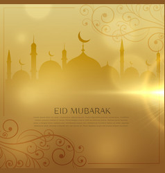 beautiful golden background for eid mubarak vector image
