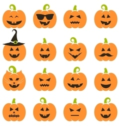 Big set of Halloween pumpkins vector image