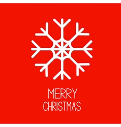 Big snowflake Red background Merry Christmas card vector image