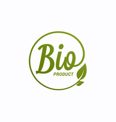 bio product design bio logo with leaf on white vector image