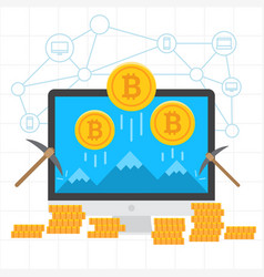 Bitcoin mining blockchain background vector