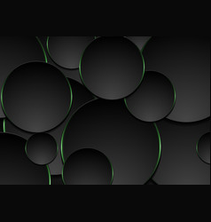 black and green circles abstract tech background vector image