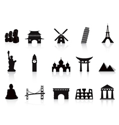 Black landmark icons vector