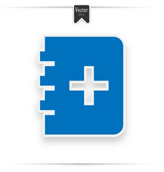 blue book with a cross sign on the page vector image
