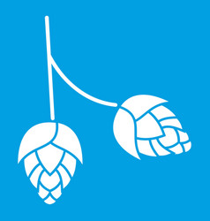 Branch of hops icon white vector