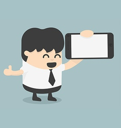 Businessman showing a blank smart phone screen wit vector