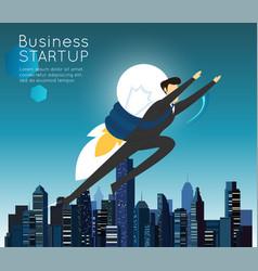 businessman superhero flying fast for business vector image