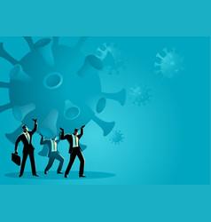 Businessmen holding a giant coronavirus together vector