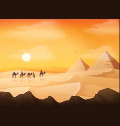camel caravan in wild africa pyramids landscape at vector image