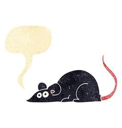 Cartoon black rat with speech bubble vector