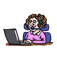 cartoon image of technical support woman operator vector image
