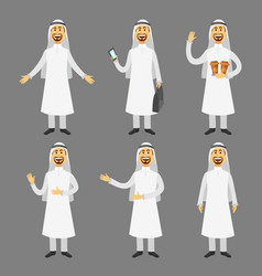 cartoon images set arab man in traditional vector image