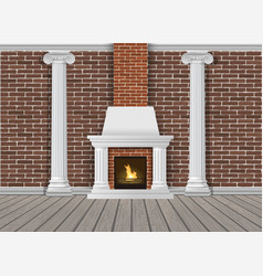 classic interior wall with fireplace vector image