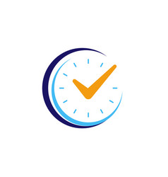 clock icon with check mark flat design vector image