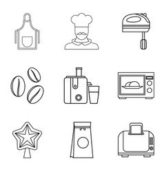 Cooking coffee icons set outline style vector