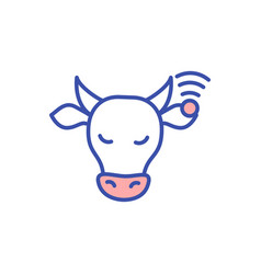 Cow with animal monitoring chip rgb color icon vector