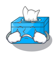 Crying cartoon tissue box on a sideboard vector