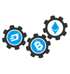 Cryptocurrency conversion gears flat icon vector