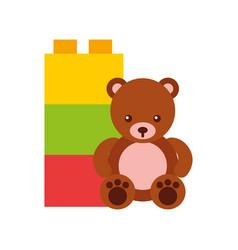 Cute bear teddy with blocks vector
