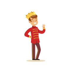 cute little boy wearing in a red prince costume vector image