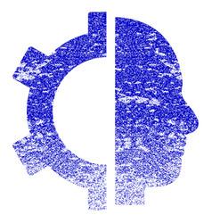 Cyborg gear grunge textured icon vector