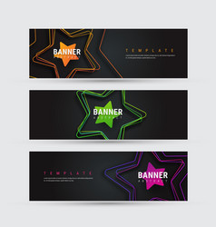 Design of a black horizontal banner with objects vector