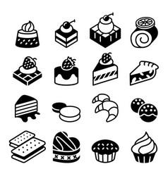 Dessert bakery icon set vector