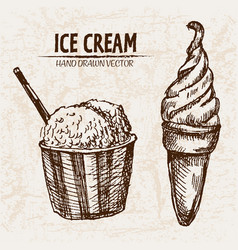 digital detailed line art ice cream in cone vector image