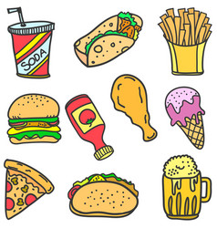 Doodle of food various design cartoon vector