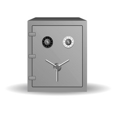 Double lock safe icon isolated on white background vector