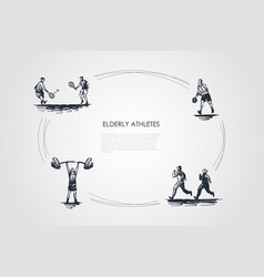 Elderly athletes - old people jogging playing vector