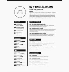 elegant cv resume template minimalist black vector image