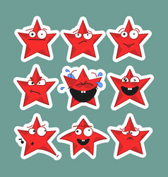 Emoji stars icons emoji stickers vector